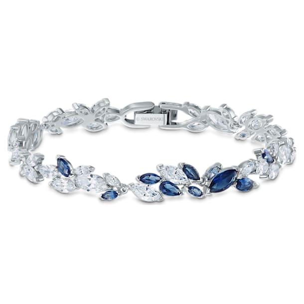 Louison bracelet, Leaf, Blue, Rhodium plated - Swarovski, 5536548