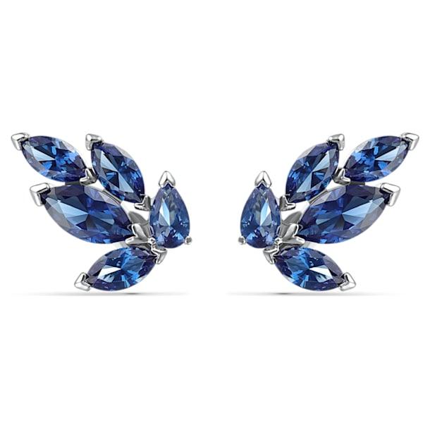 Louison Stud Pierced Earrings, Blue, Rhodium plated - Swarovski, 5536549