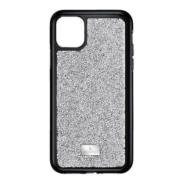 Etui na smartfona Glam Rock z ramką chroniącą przed uderzeniem, iPhone® 11 Pro Max, w odcieniu srebra - Swarovski, 5536650