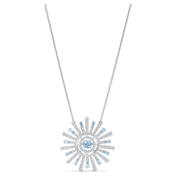 Sunshine Necklace, Blue, Rhodium plated - Swarovski, 5536731