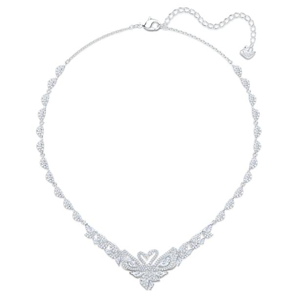 Dancing Swan Necklace, White, Rhodium plated - Swarovski, 5536766