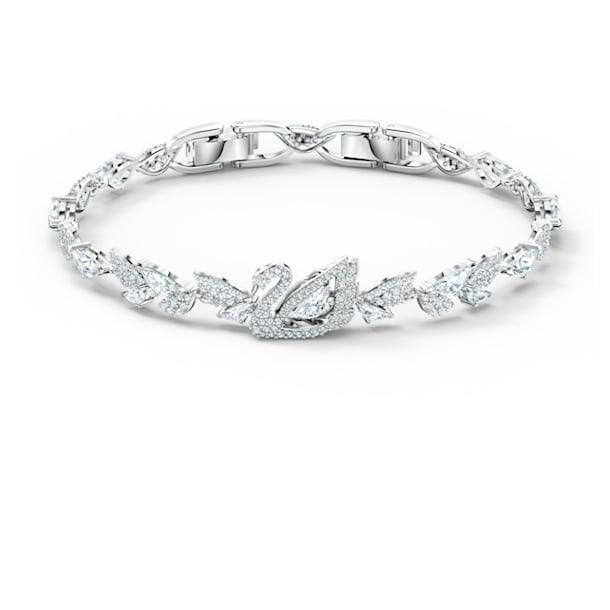 Bracelet Dancing Swan, blanc, métal rhodié - Swarovski, 5536767