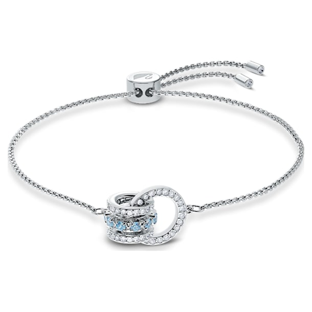 Further-armband, Blauw, Rodium-verguld - Swarovski, 5537123