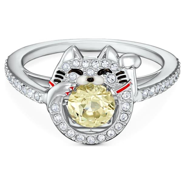 Swarovski Sparkling Dance Cat Ring, Light multi-colored, Rhodium plated - Swarovski, 5537489