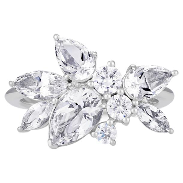 Luna Cluster Ring, Swarovski Created Diamonds, 18K White Gold, Size 52 - Swarovski, 5537950