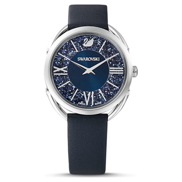 Crystalline Glam horloge, Lederen band, Blauw, Roestvrij staal - Swarovski, 5537961