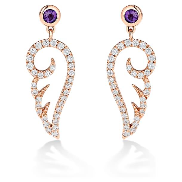 星愿之翼18K玫瑰金紫晶钻石耳环 - Swarovski, 5538165