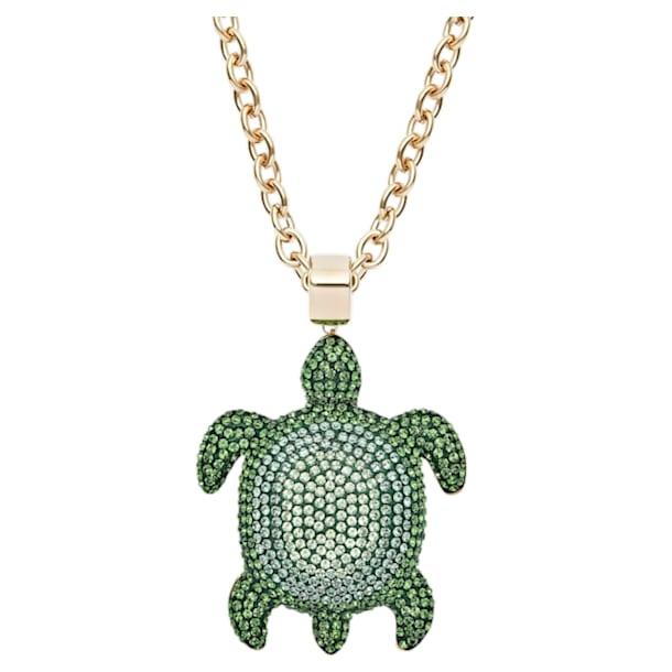 Pendente Mustique Sea Life Turtle, grande, verde, banhado a dourado - Swarovski, 5538454