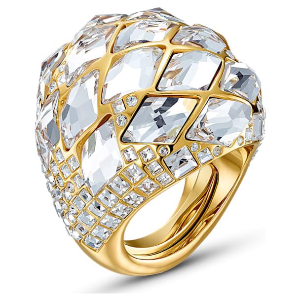 Pierścionek Tropical, biały, powłoka w odcieniu złota - Swarovski, 5539036