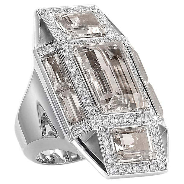 Mosaic Ring, 18K White Gold, Size 58 - Swarovski, 5539744