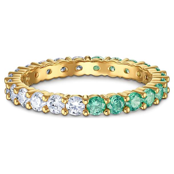 Vittore Half 戒指, 绿色, 镀金色调 - Swarovski, 5539747