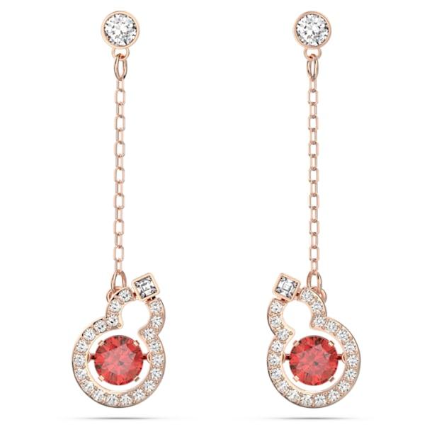 Full Blessing Hulu Pierced Earrings, Red, Rose-gold tone plated - Swarovski, 5539895