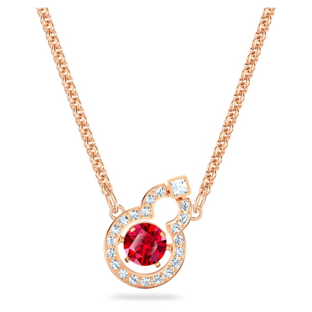 Full Blessing Hulu Necklace, Red, Rose-gold tone plated - Swarovski, 5539897