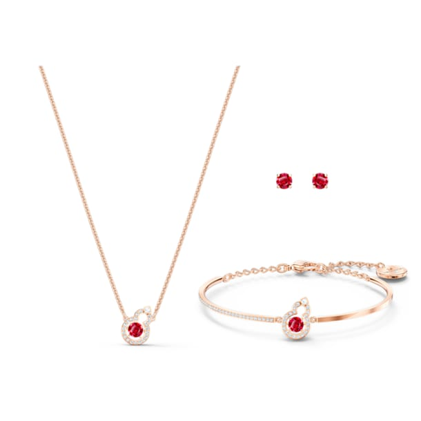 Full Blessing Hulu Set, Red, Rose-gold tone plated - Swarovski, 5539903
