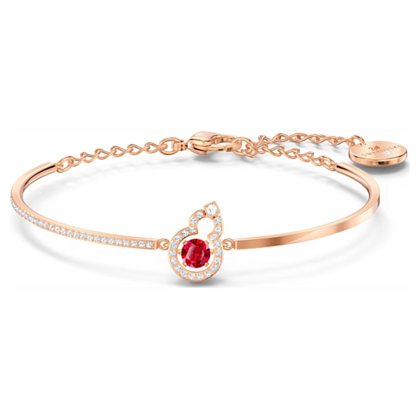 Full Blessing Hulu Bangle, Red, Rose-gold tone plated - Swarovski, 5539912