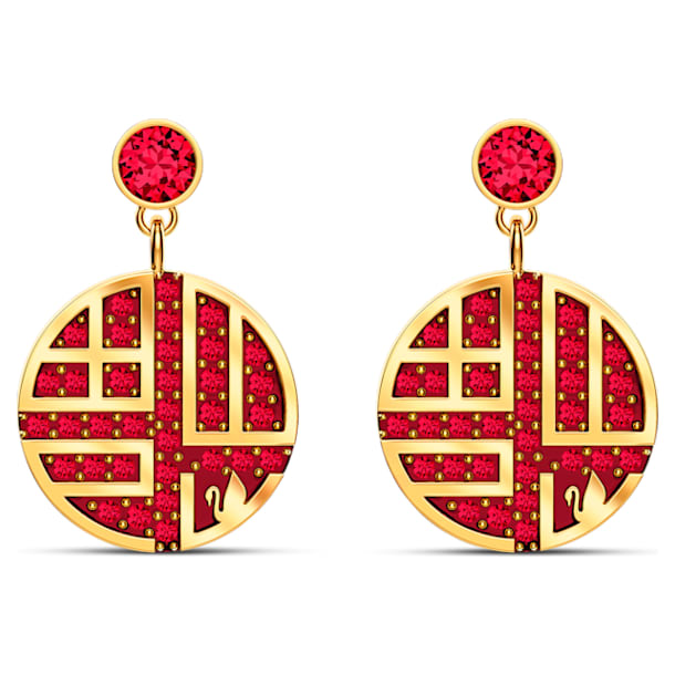 Full Blessing Fu Pierced Earrings, Red, Gold-tone plated - Swarovski, 5539915