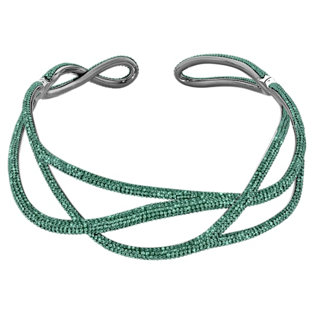 Tigris Statement Choker, Green, Ruthenium plated - Swarovski, 5540377