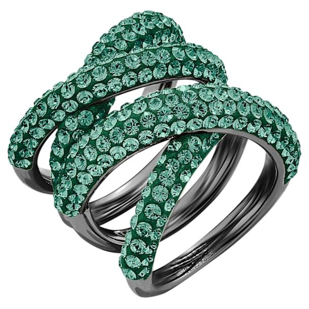 Tigris Wide Ring, Green, Ruthenium plated - Swarovski, 5540379