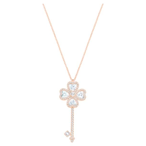 Deary Key Pendant, White, Rose-gold tone plated - Swarovski, 5540499