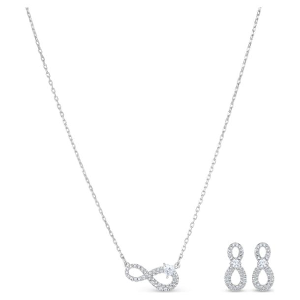 Swarovski Infinity set, Infinity, White, Rhodium plated - Swarovski, 5540702