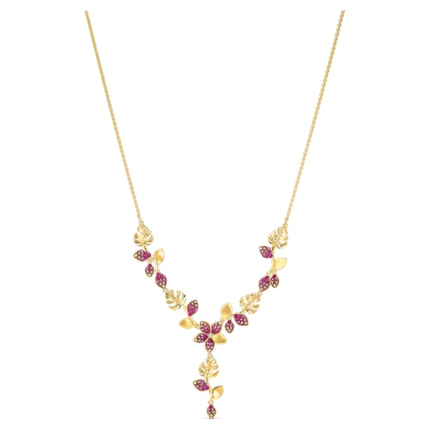 Tropical Flower necklace, Pink, Gold-tone plated - Swarovski, 5541061