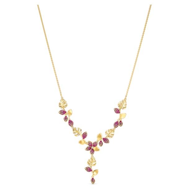 Tropical Flower Y 네크리스, 핑크, 골드 톤 플래팅 - Swarovski, 5541061