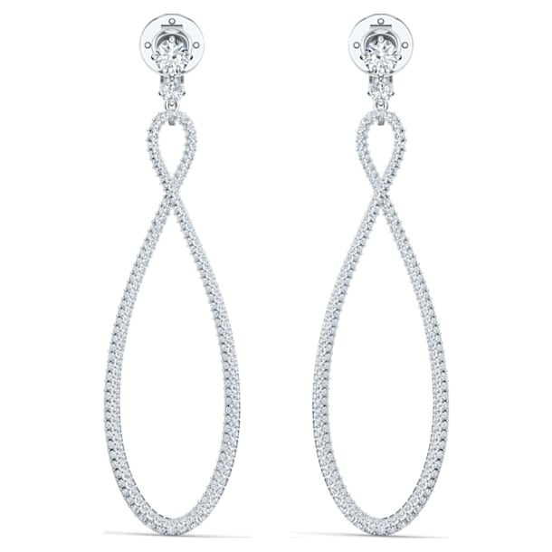 Swarovski Infinity Hoop Clip Earrings, White, Rhodium plated - Swarovski, 5543513