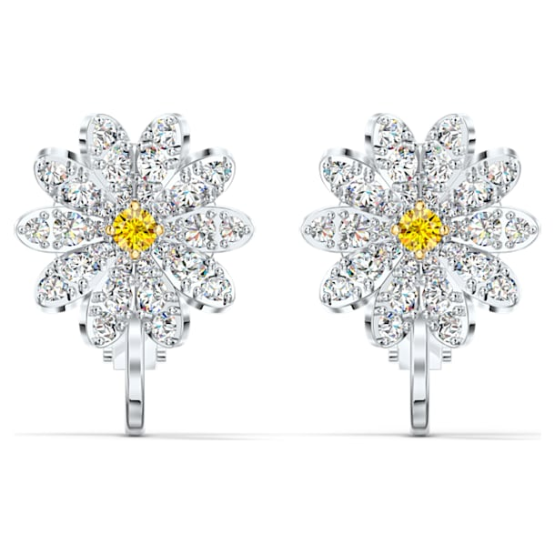 Eternal Flower Clip Earrings, Yellow, Mixed metal finish - Swarovski, 5543824