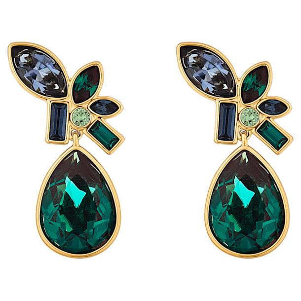 Beautiful Earth Drop Pierced Earrings, Multicolored, Gold-tone plated - Swarovski, 5545990