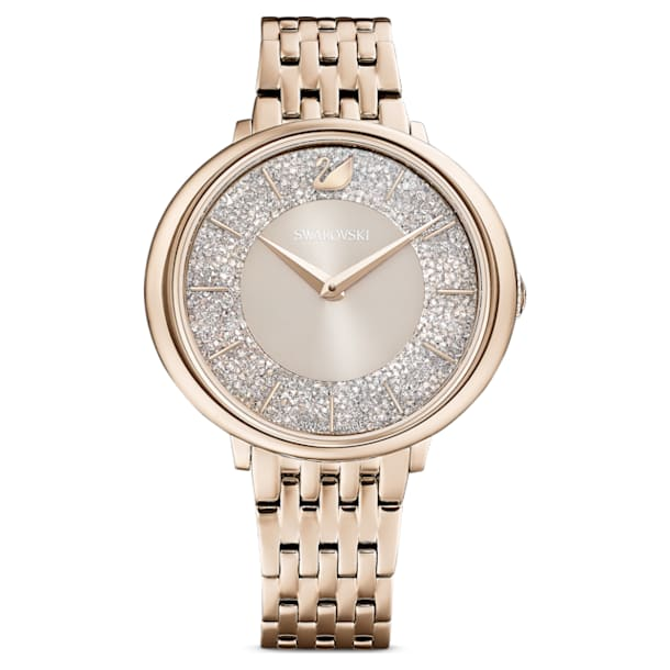 Crystalline Chic Часы, Металлический браслет, Серый Кристалл, PVD-покрытие золотого цвета оттенка шампанского - Swarovski, 5547611