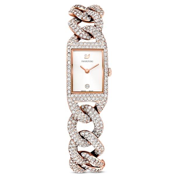 Cocktail horloge, Volledig pavé, Metalen armband, Roségoudkleurig, Roségoudkleurig PVD - Swarovski, 5547614