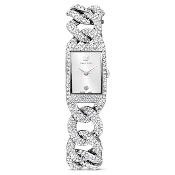 Cocktail Часы, Паве на всей поверхности, Металлический браслет, Оттенок серебра, Нержавеющая сталь - Swarovski, 5547617