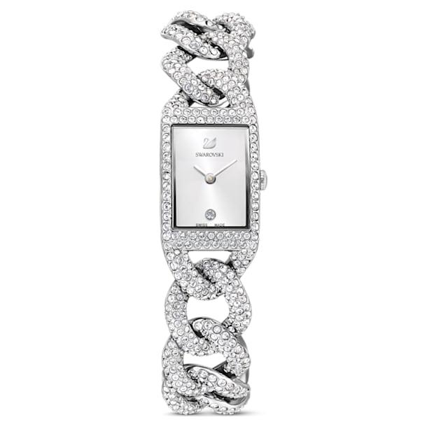 Cocktail watch, Full pavé, Metal bracelet, Silver tone, Stainless steel - Swarovski, 5547617