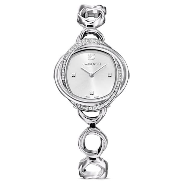 Zegarek Crystal Flower, bransoleta z metalu, srebrny, stal nierdzewna - Swarovski, 5547622