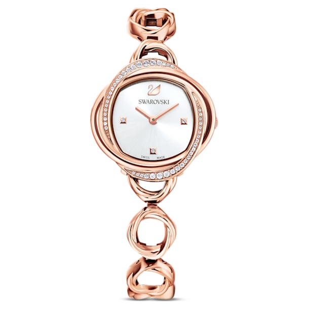 Crystal Flower Watch, Metal bracelet, Rose gold tone, Rose-gold tone PVD - Swarovski, 5547626