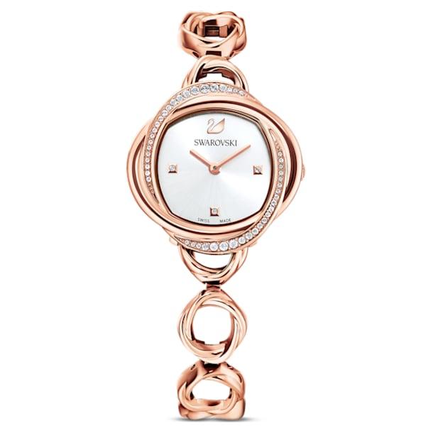 Crystal Flower Watch, Metal bracelet, Rose gold tone, Rose-gold tone PVD - Swarovski, 5547626
