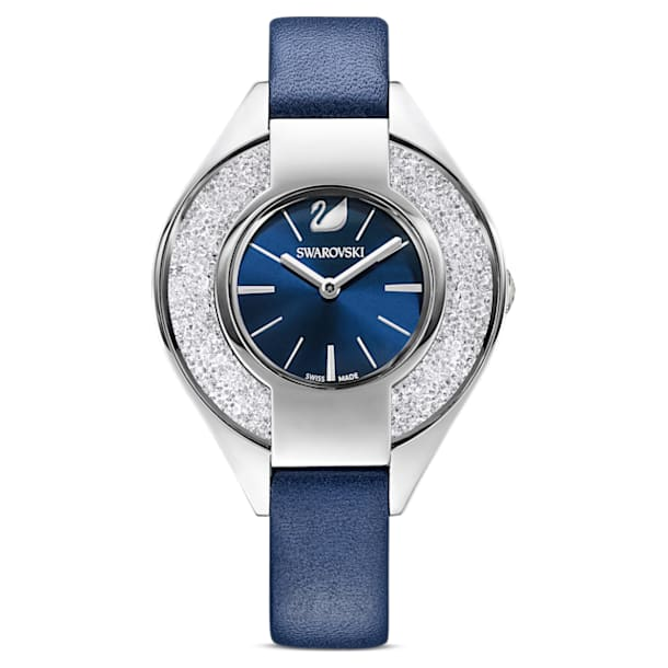 Crystalline Sporty Watch, Leather strap, Blue, Stainless steel - Swarovski, 5547629