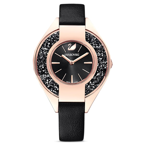 Crystalline Sporty Watch, Leather strap, Black, Rose-gold tone PVD - Swarovski, 5547632