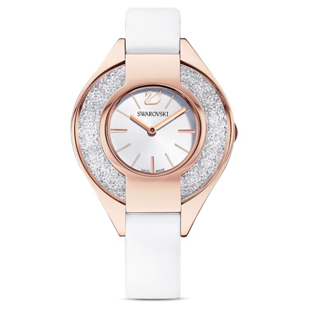 Sportovní hodinky Crystalline, s koženým páskem, bílé, PVD v odstínu růžového zlata - Swarovski, 5547635