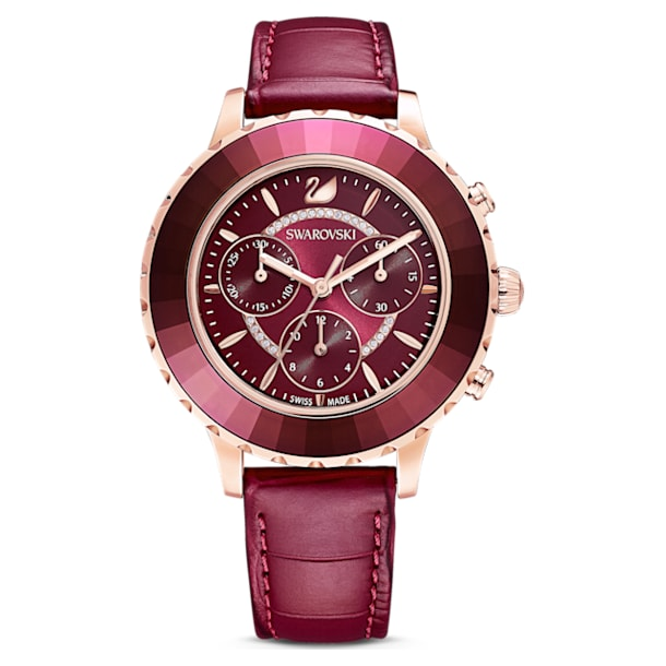Ceas Octea Lux Chrono, curea din piele, roșu, nuanță aur roz aplicată prin depunere fizică de vapori - Swarovski, 5547642