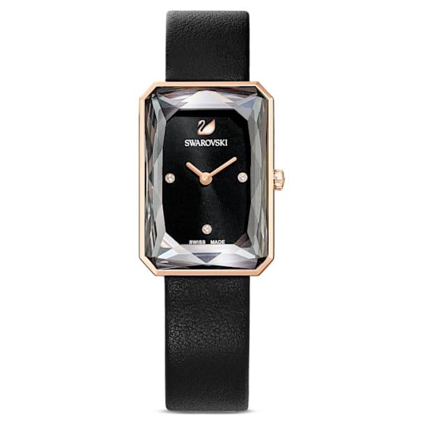 Zegarek Uptown, Skórzany pasek, Czarny, Powłoka PVD w odcieniu różowego złota - Swarovski, 5547710