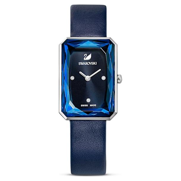 Uptown horloge, Lederen band, Blauw, Roestvrij staal - Swarovski, 5547713