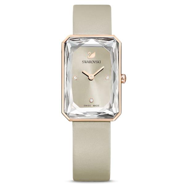 Uptown watch, Leather strap, Gray, Rose-gold tone PVD - Swarovski, 5547716