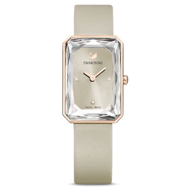 Uptown Часы, Кожаный ремешок, Серый Кристалл, PVD-покрытие оттенка розового золота - Swarovski, 5547716