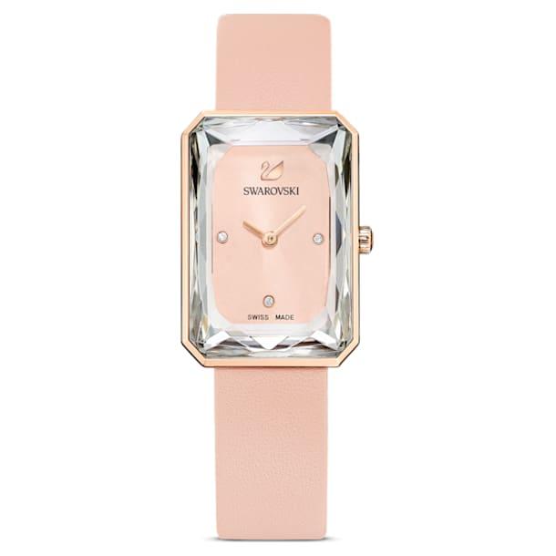 Ρολόι Uptown, Δερμάτινο λουράκι, Ροζ, Φυσική εναπόθεση ατμού σε ροζ χρυσαφί τόνο - Swarovski, 5547719