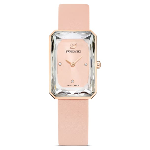 Uptown watch, Leather strap, Pink, Rose-gold tone PVD - Swarovski, 5547719
