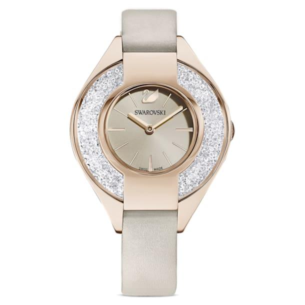 Crystalline Sporty horloge, Lederen band, Grijs, Champagnegoudkleurig PVD - Swarovski, 5547976
