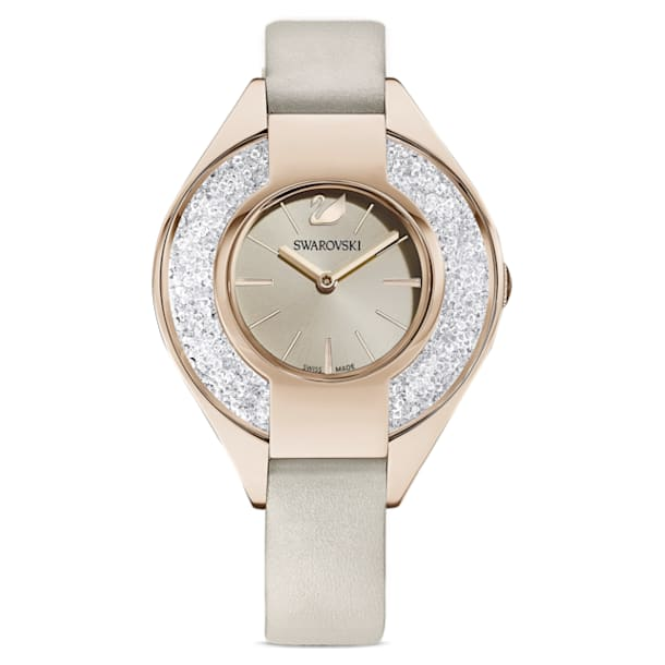Crystalline Sporty Watch, Leather strap, Grey, Champagne-gold tone PVD - Swarovski, 5547976