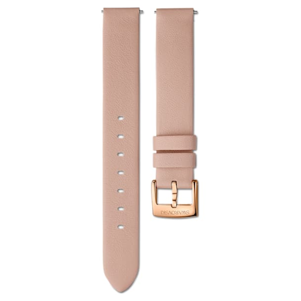 14mm Watch strap, Leather, Pink, Rose-gold tone PVD - Swarovski, 5548139