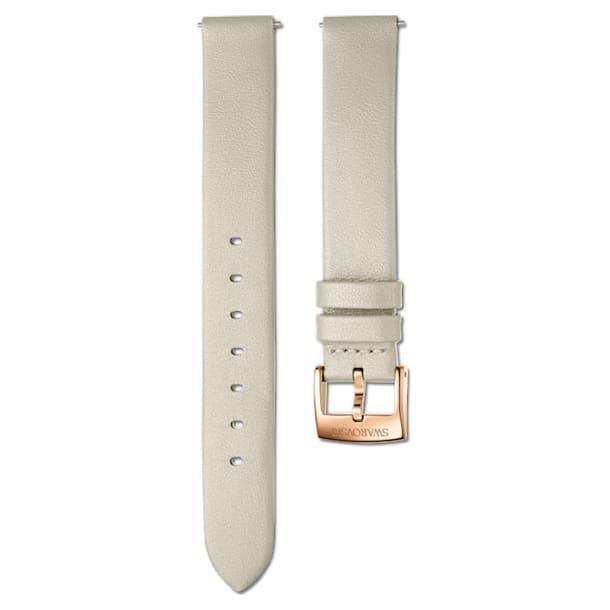 Correa de reloj 14mm, Piel, gris topo, PVD tono oro rosa - Swarovski, 5548140